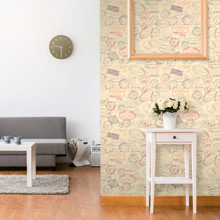 Brown Travel Stamp Themed Removable wallpaper