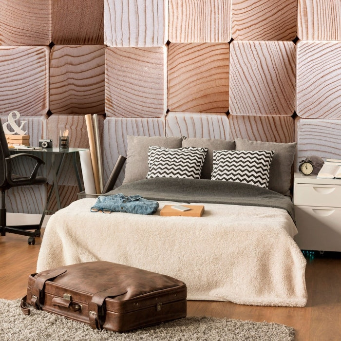 Tan Log Fabric Removable Wall Mural