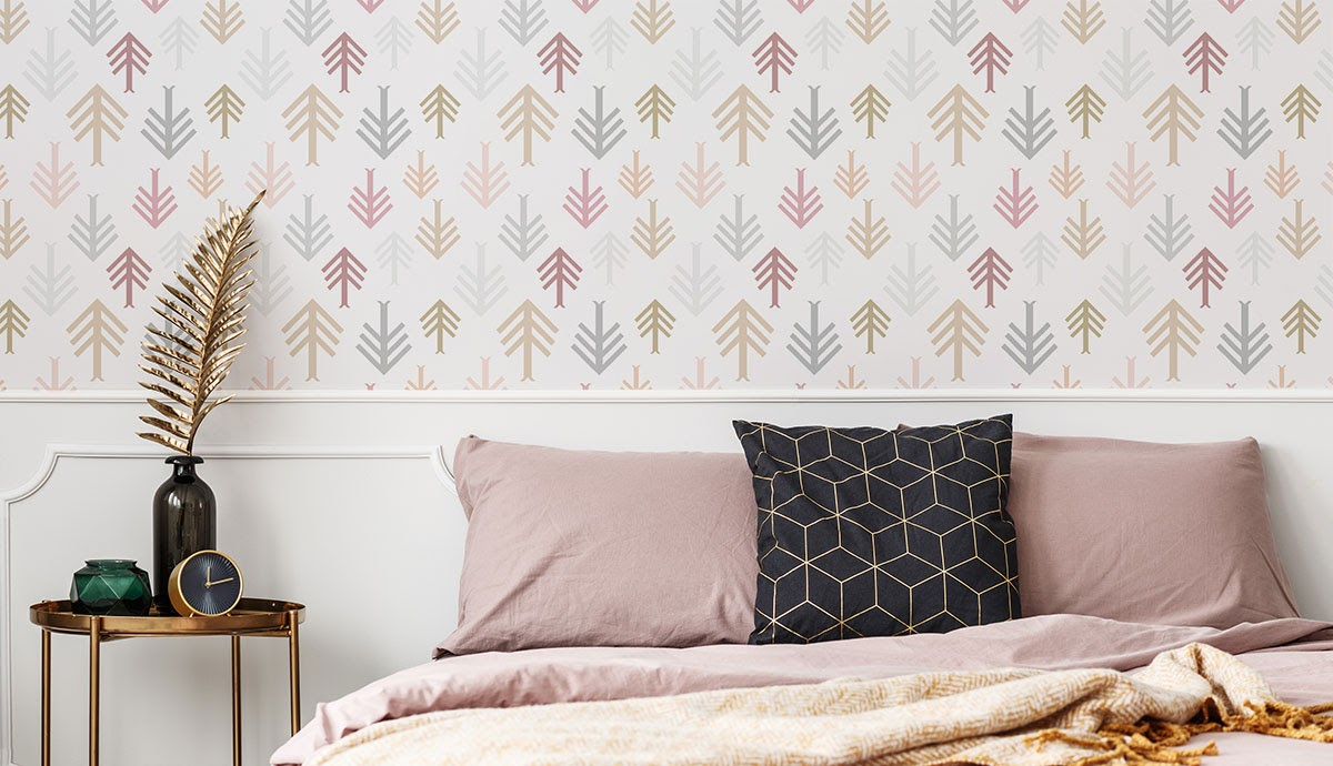A boho-chic romantic wallpaper for a bedroom and a decorative feather.