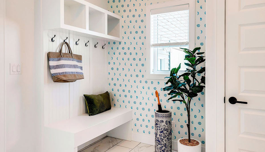 A bright and cheerful entryway nook.