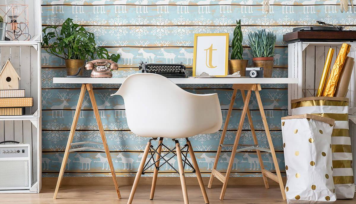 place of work with holiday vibes teal and white removable wallpaper