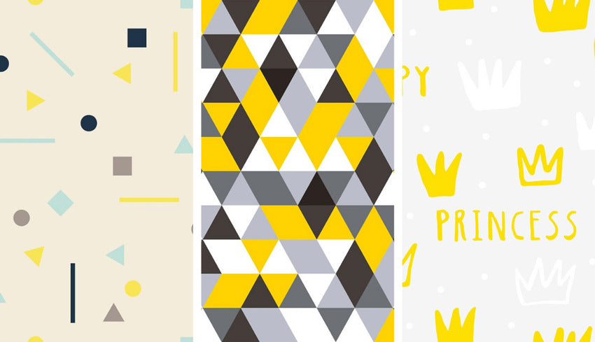 Bold yellow and gray print removable wallpaper