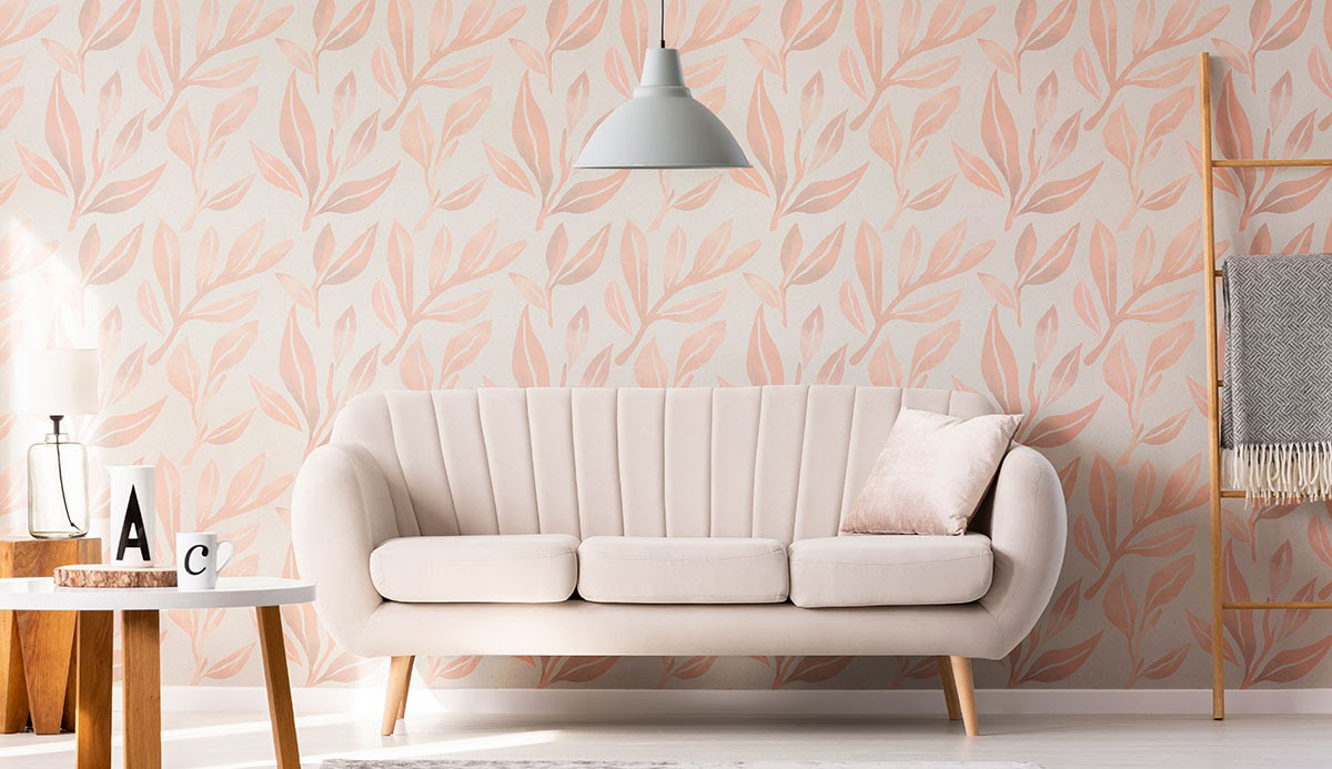 Coral Botanical Floral Fabric Removable Wallpaper
