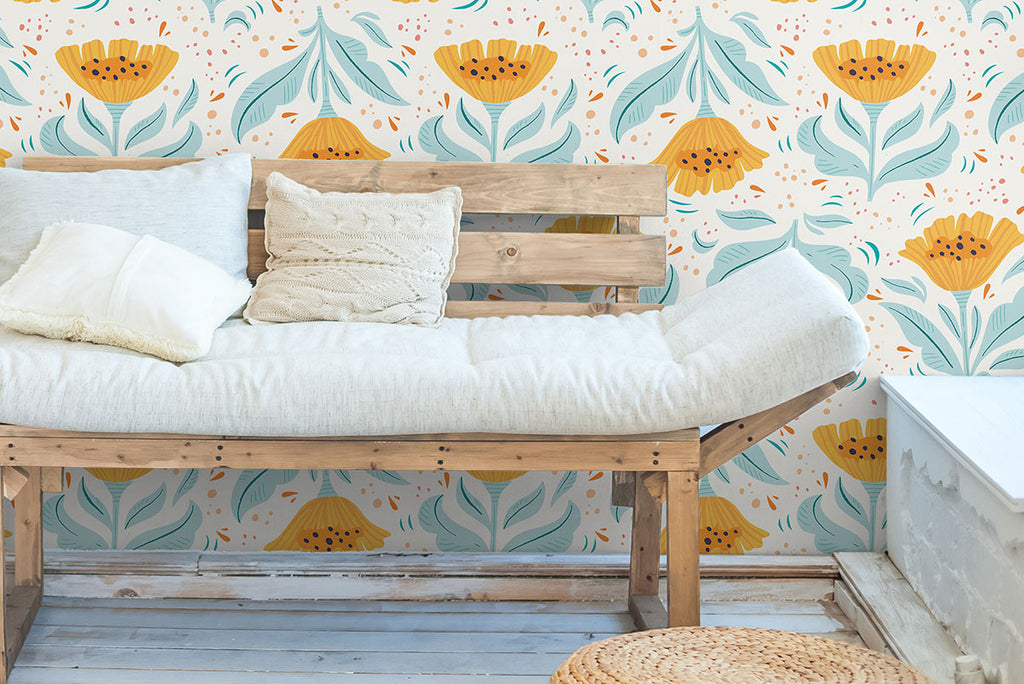 bench with floral mustard wallpaper