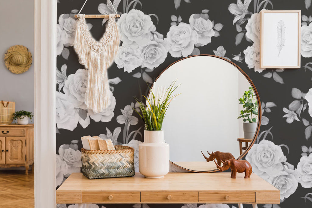 table with floral vintage black wallpaper