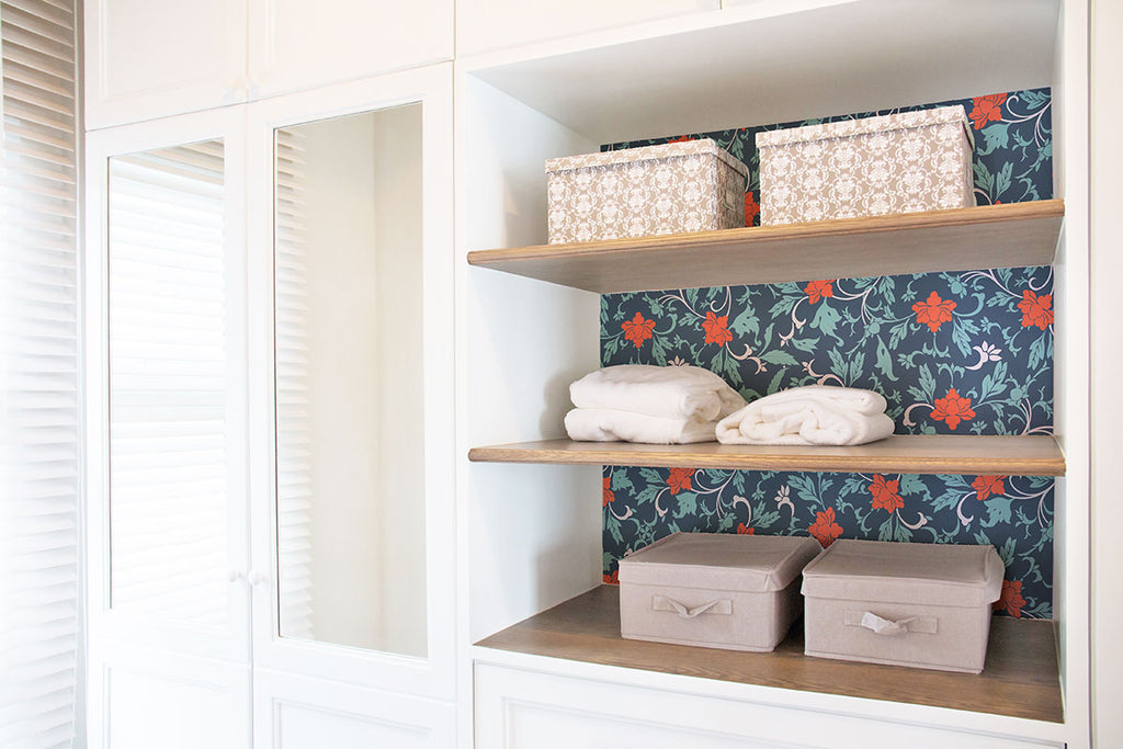 shelf with floral vintage wallpaper