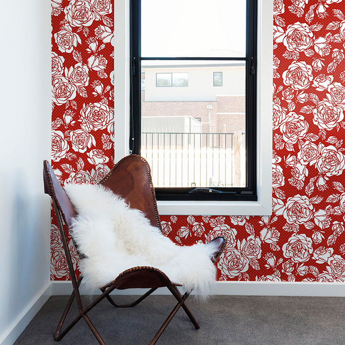 blossomed white roses veiled over a classic red backdrop wallpaper