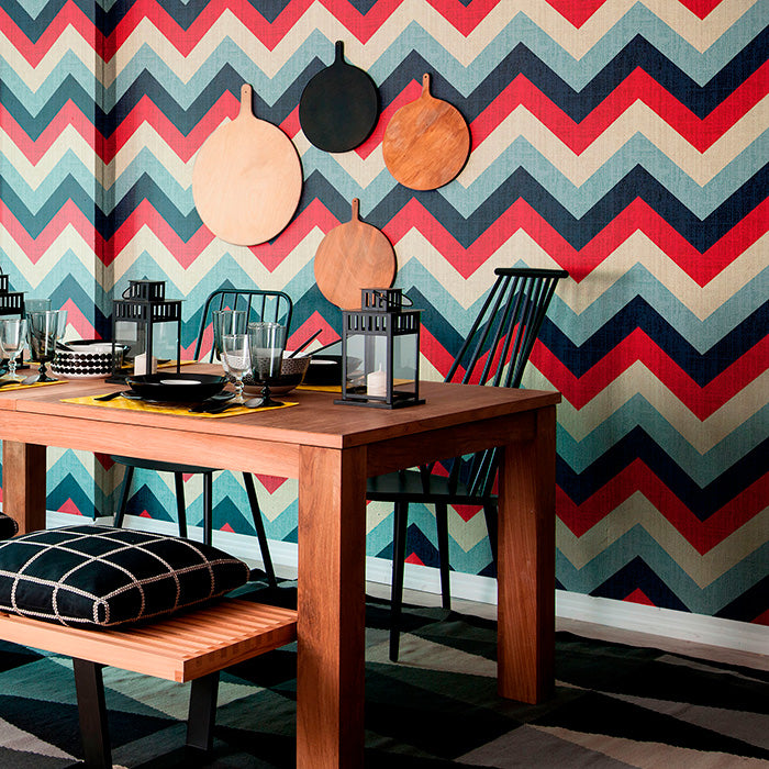 fancy table set-up with Red and Blue Chevron Geometric wallpaper