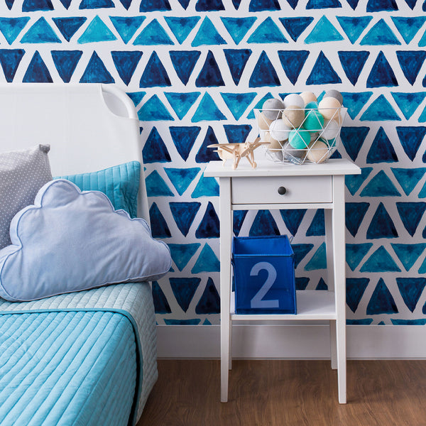 Blue and White Triangles Geometric Fabric Removable Wallpaper