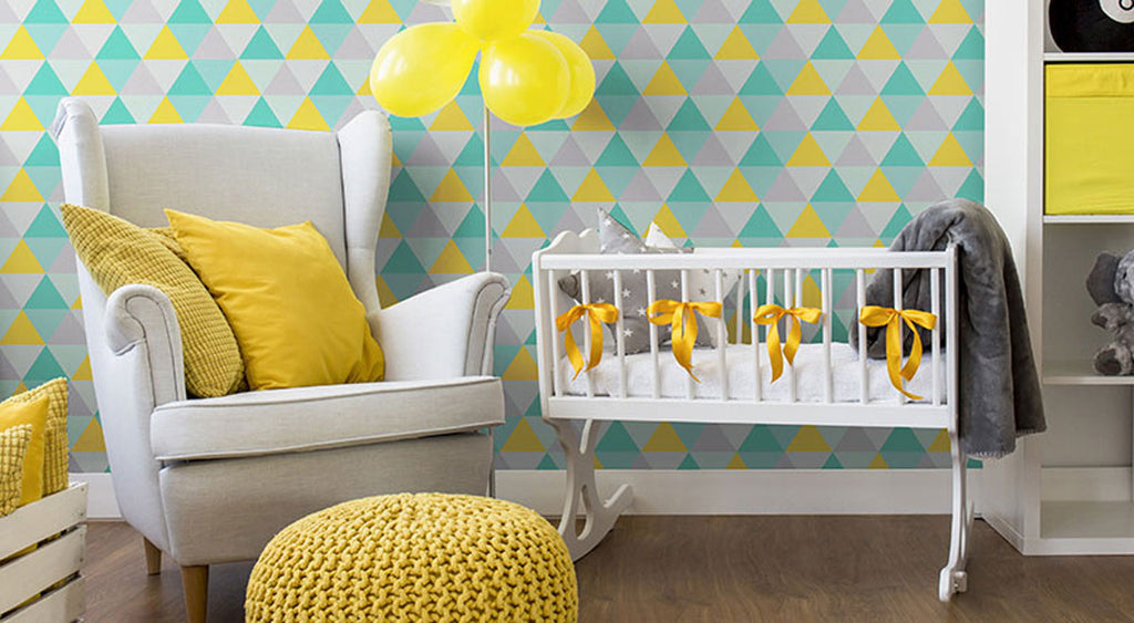 kid's colorful bedroom with green triangle geometric wallpaper