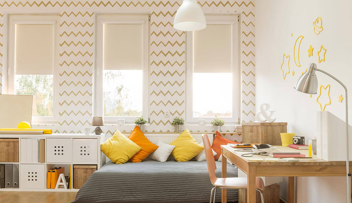 Gold Stripes Teens Fabric Removable Wallpaper