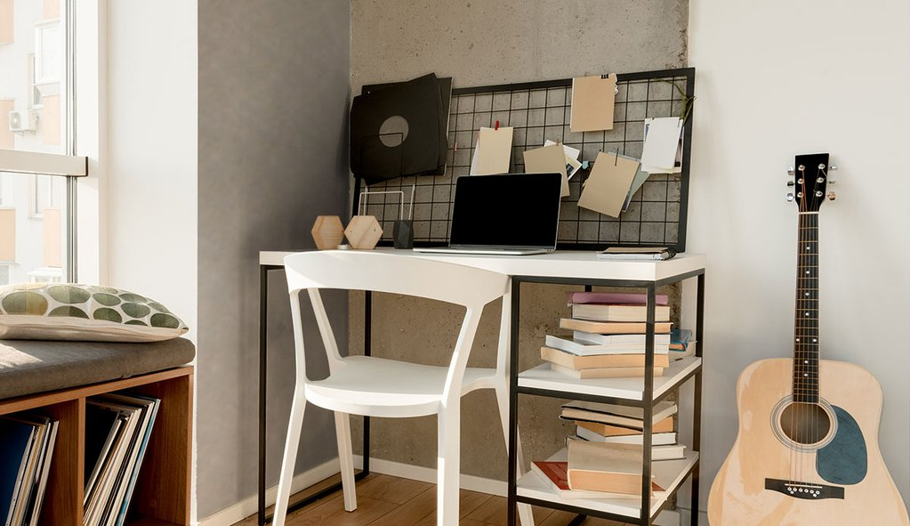study table with grey and brown faux cement texture fabric removable wallpaper