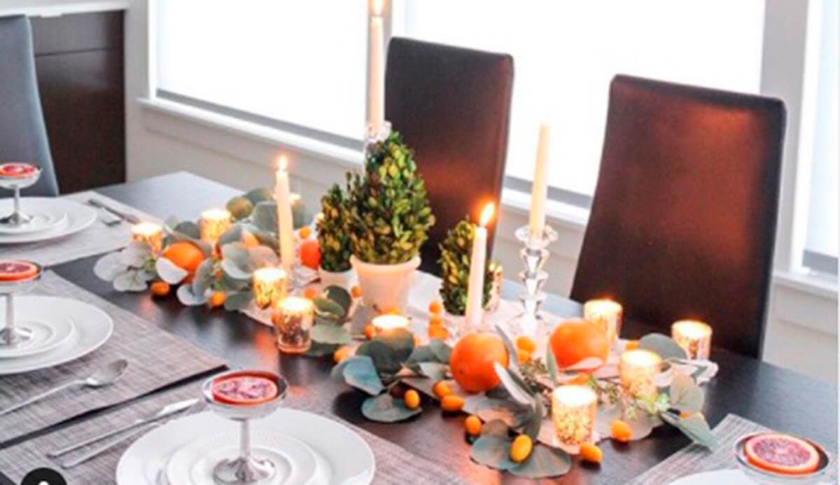 A dining table set for a holiday meal