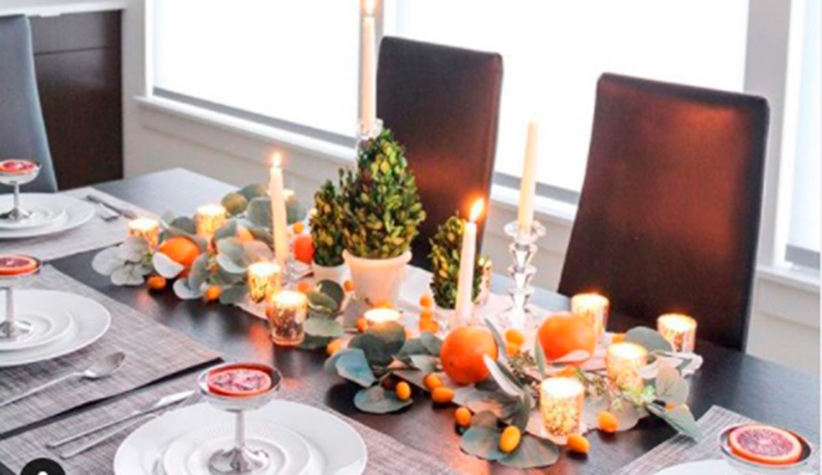A dining table set for a holiday meal.