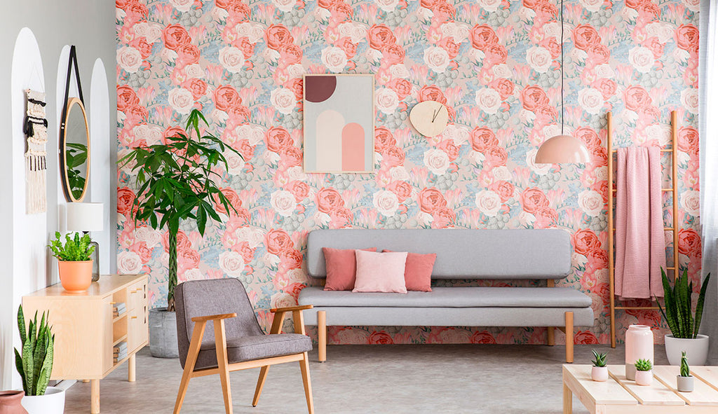 soft pinks, blues, and greens removable wallpaper