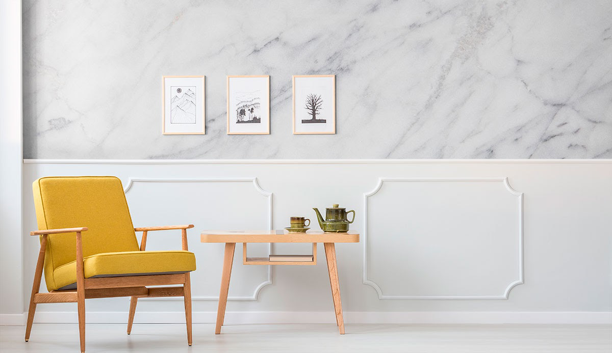 minimalist area with marble wall murals