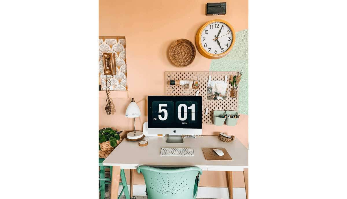 office decor with pastel wallpaper