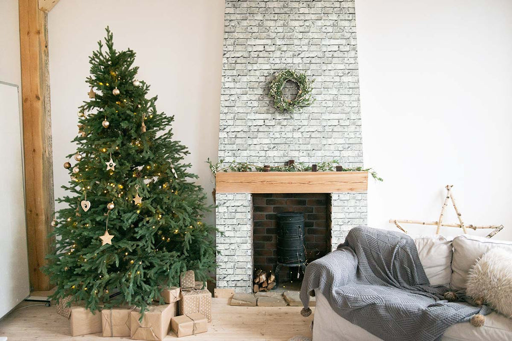 Christmas decor fireplace with turquoise brick texture wallpaper