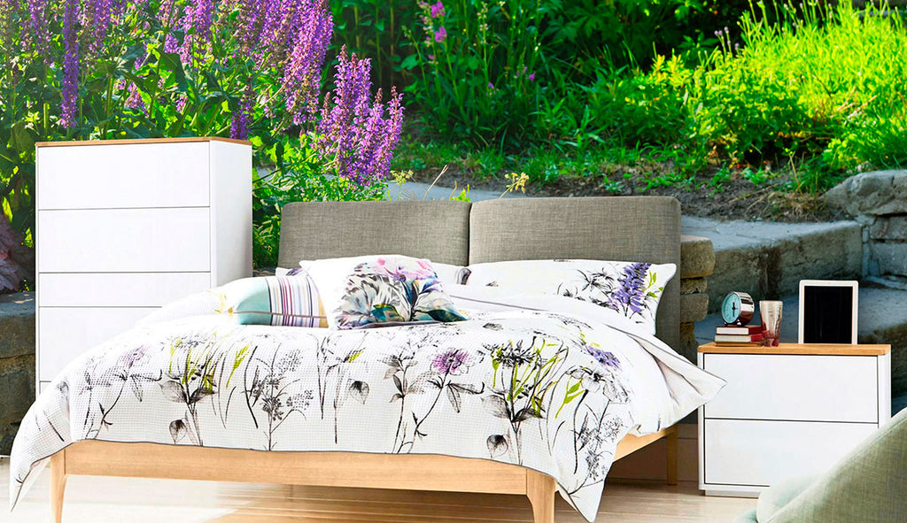 purple and green floral fabric removable wall mural