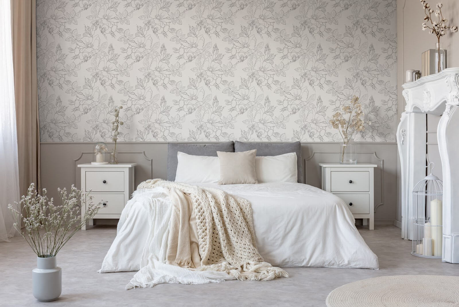 Different shades of gray create a simple bedroom look.