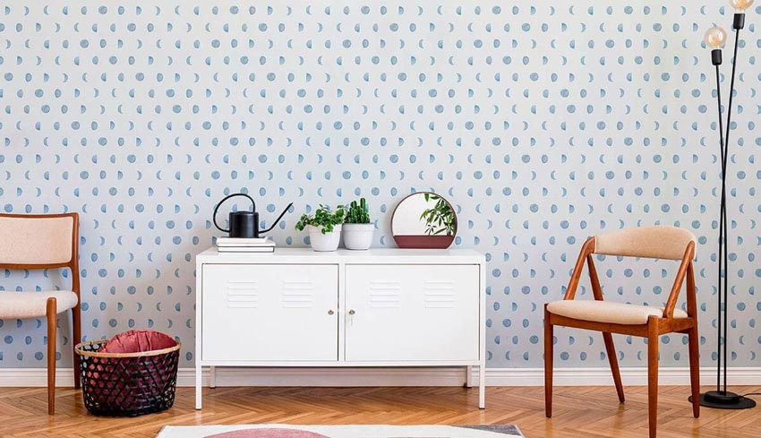 Sky blue moon phases as a removable wallpaper design.