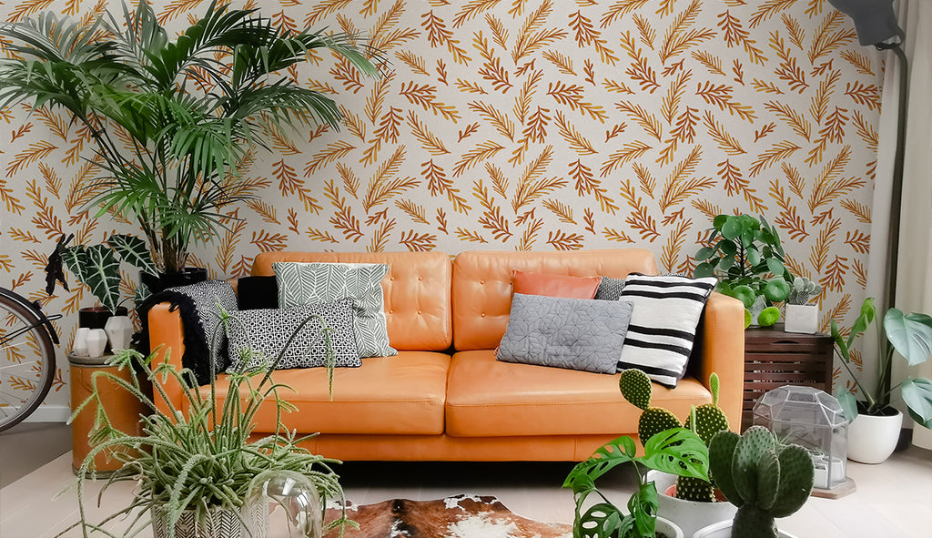 sofa mustard botanical floral wallpaper