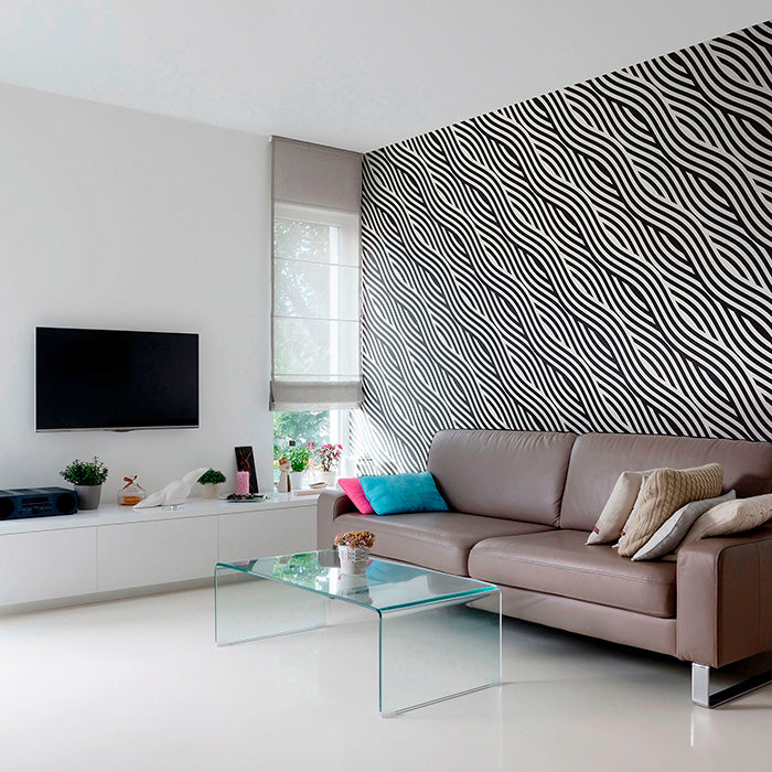 spacious entertainment area with Black and White Striped wallpaper