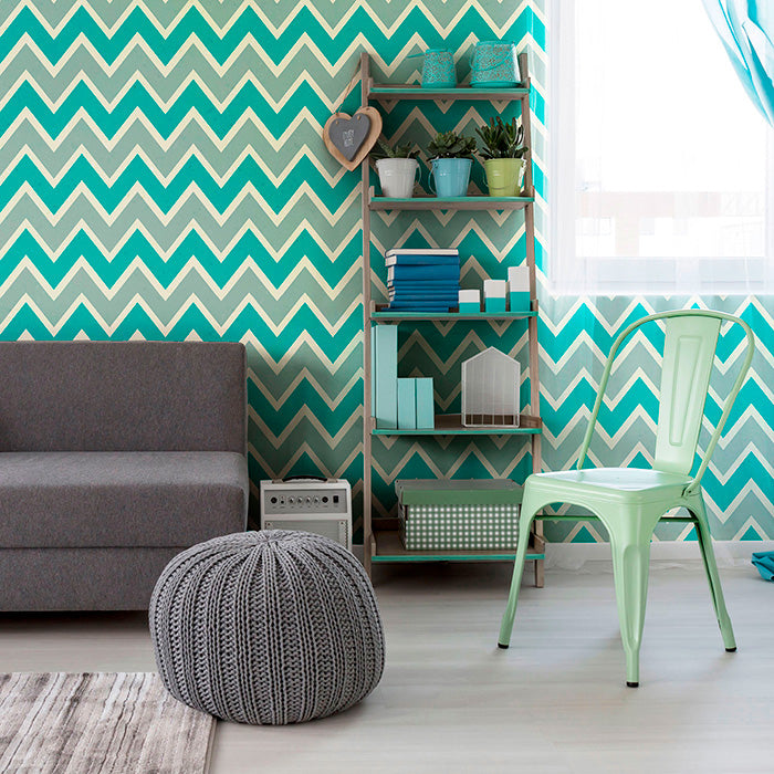 chilly blue chevron pattern wallpaper