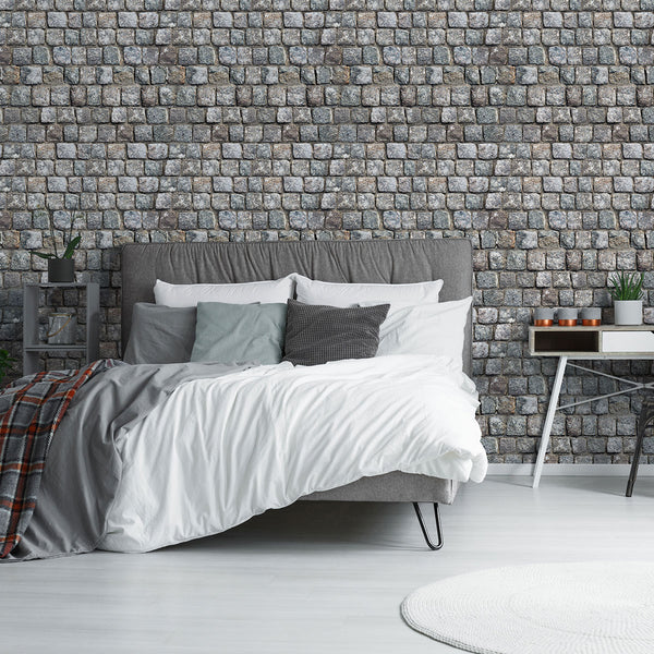 Brown and Grey Stone imitation Fabric Removable Wallpaper