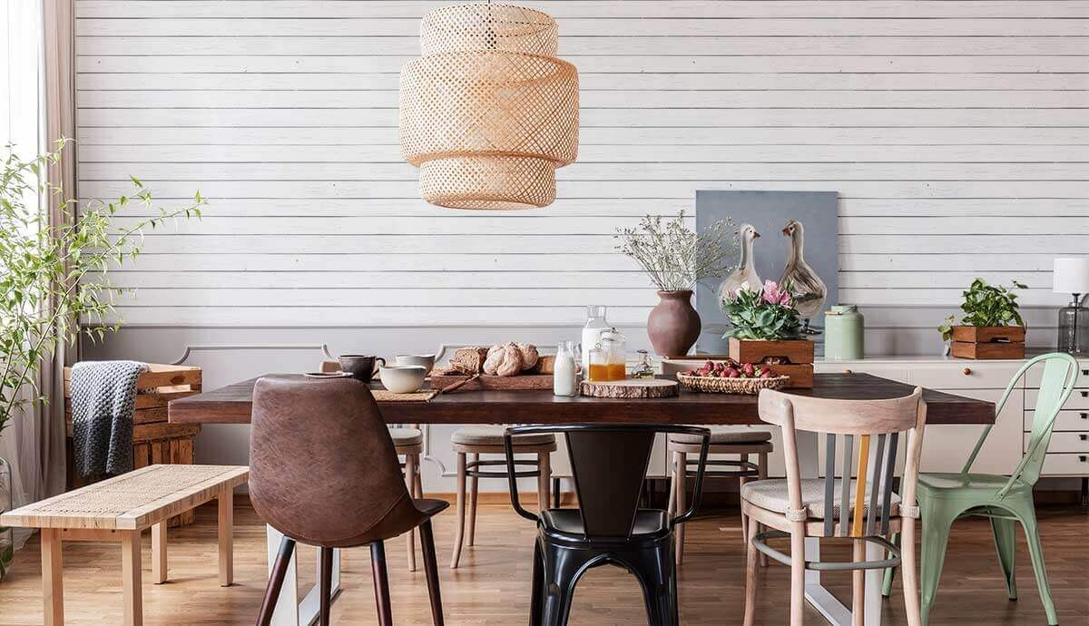 A timeless design for a kitchen with white shiplap wallpaper.