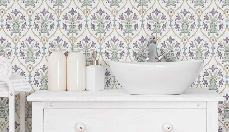 Traditional style purple wallpaper in a bathroom.