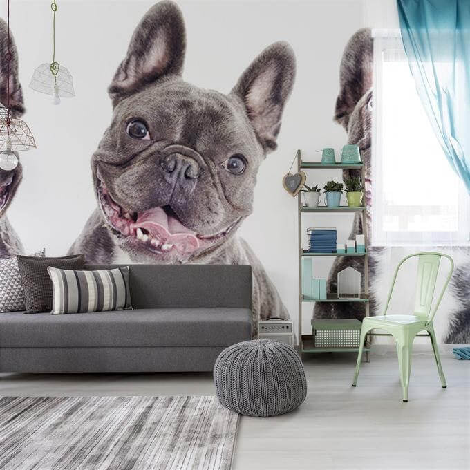 Wall-sized dog mural for dog themed room decor