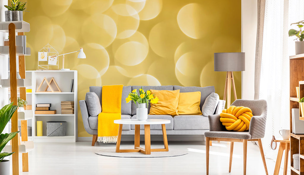 artsy look room with yellow and light fabric removable wall mural