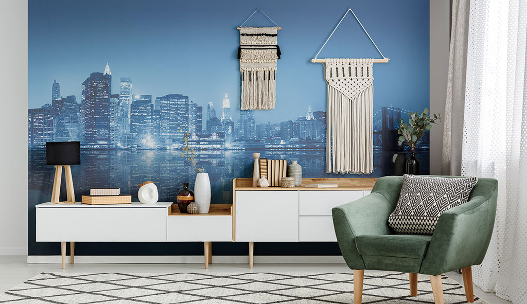modern living area with city landscape removable wall mural
