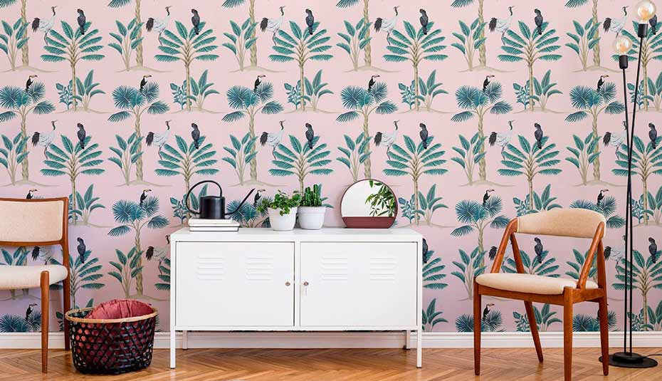 Peel-and-stick wallpaper featuring birds and greenery.
