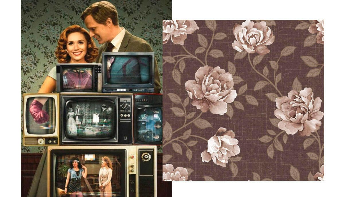 Wanda and Vision with TVs and a brown floral wallpaper retro decor idea.