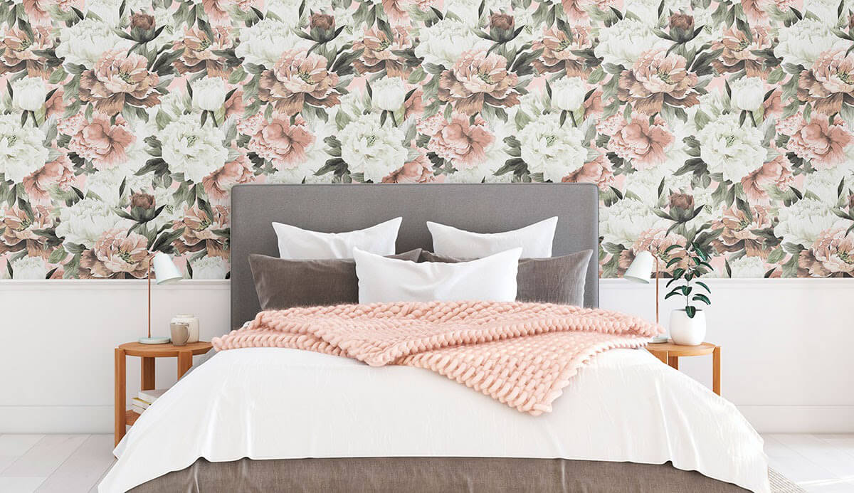 white and pink flower removable wallpaper