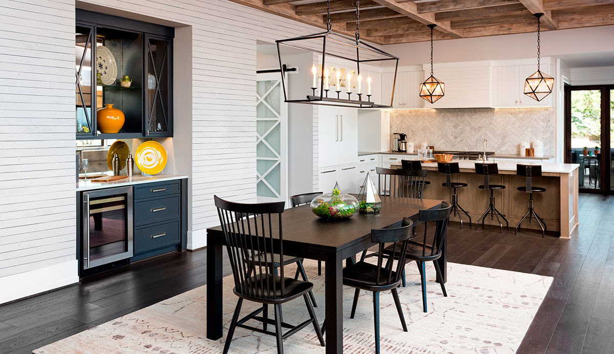 farmhouse aesthetic dining area