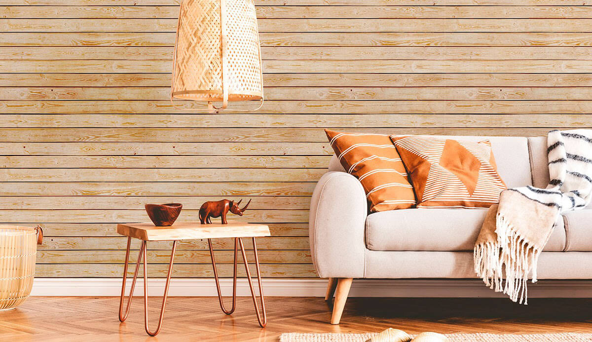 sophisticated living area with wood pattern removable wallpaper