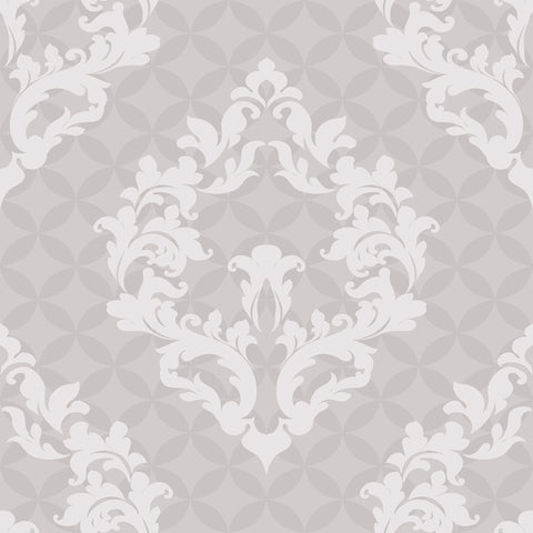 Grey Damask Peel and Stick Removable Wallpaper 1864