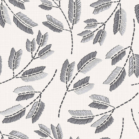 Grey Leaves Peel and Stick Removable Wallpaper 5436