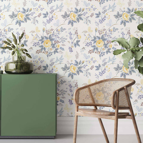 Skip those textbook floral prints and go for this fresh and artsy botanical collage instead. This lovely peel and stick wallpaper presents delightful ensembles of wildflowers and butterflies using measured doses of yellow, blue and green. Beautifully balanced, it keeps your living space bright and cheerful yet subtle and understated. Vintage charm, modern freshness, oriental charisma – you'll find everything you need in this unique removable wallpaper!
