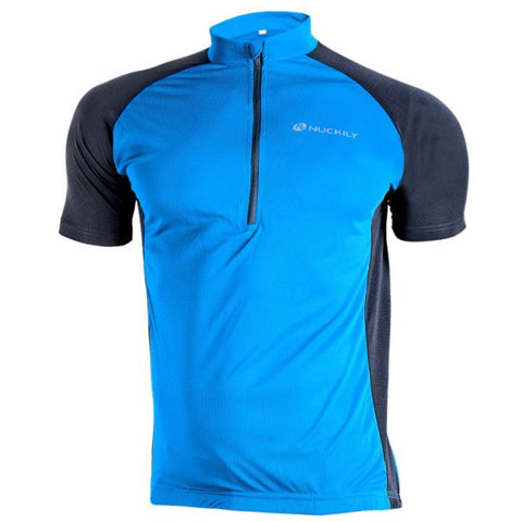 NUCKILY Men's 3 Quarter Zipper Mesh Line Fabric Light Biking Jersey 1 Piece / Bag