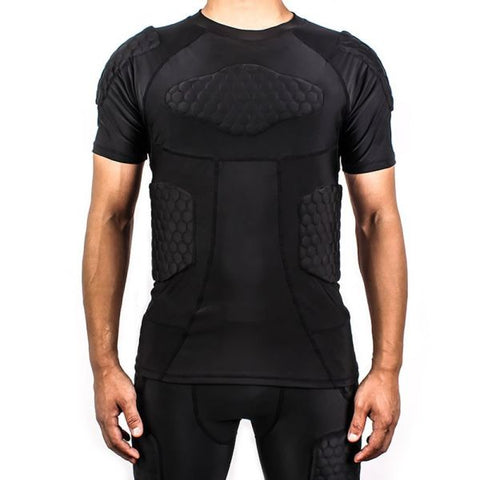 Padded Compression Shirt Sports Short Sleeve Protective T-Shirt Shoulder Rib Chest Protector Suit for Football Basketball Paintball Rugby Parkour Extreme Exercise 1 Piece / Bag