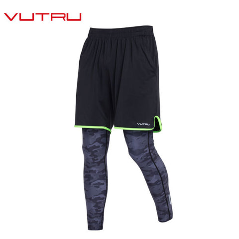 Vutru Men Ruuning Two-piece Compression Pants men Sports Gym Tights man Sportswear Leggings Sports Fitness V7LD016 1 Piece / Bag