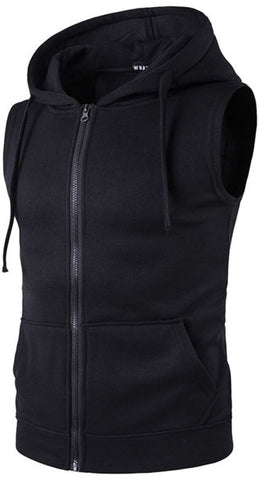Whatlees Mens Solid Sleeveless Zip Up Fitness Hoodie Shirt Vest With Pockets B424-Black-S 1 Piece / Bag