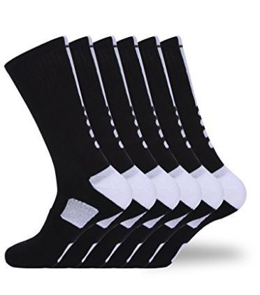 Yock 6 Pack Unisex High Elastic Cushioned Athletic Sport Crew Sock 6 Pieces / Bag