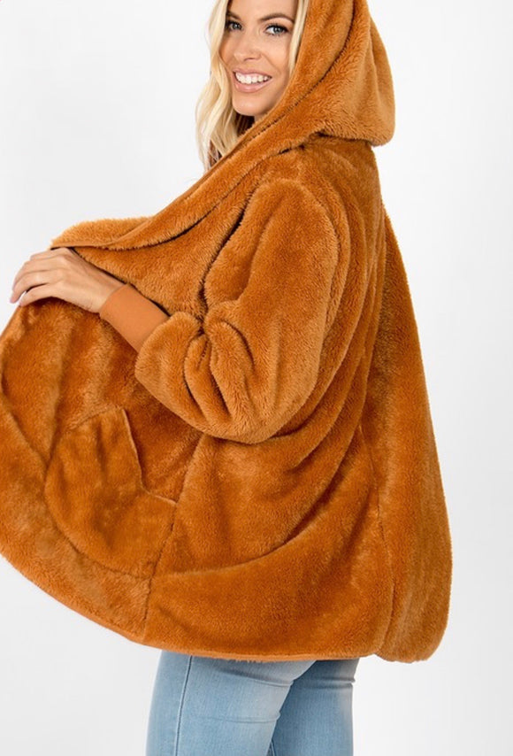 Camel Hooded Coat