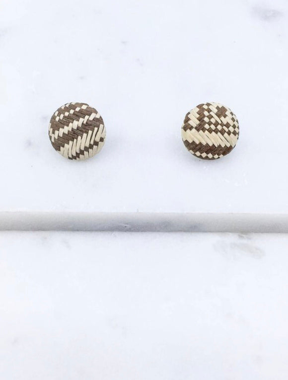 Brown & Cream Stud Earrings