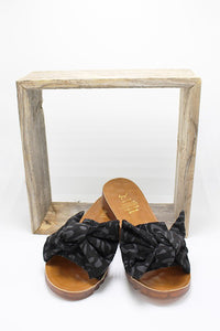 Black Leopard Bow Sandals